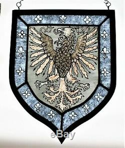 Stained Glass, Hand Painted, Eagle Heraldic Shield Panel, #2402-02