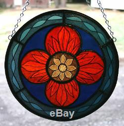 Stained Glass, Hand Painted, Kiln Fired Round Panel # 2000-04