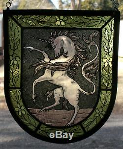 Stained Glass, Hand Painted, Kiln Fired, Unicorn Heraldic Shield Panel, #1304-01