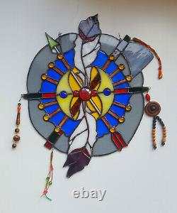 Stained Glass Hanging Window Large Panel Two Feathers Tiffany Style Handmade