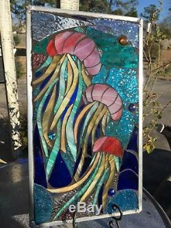 Stained Glass Jellyfish Underwater Ocean Mosaic Window Suncatcher Panel OOAK