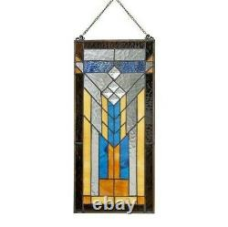 Stained Glass Mission Window Door Panel Handcrafted Tiffany Style 9 X 19.5