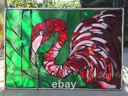 Stained Glass Mosaic Flamingo Tropical Ocean Window Suncatcher Panel OOAK