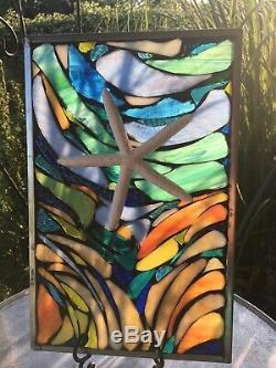 Stained Glass Nautical Starfish Ocean Mosaic Window Suncatcher Panel OOAK