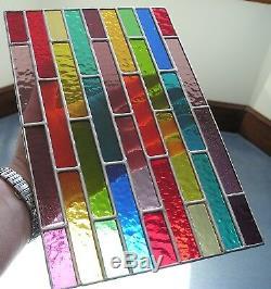 Stained Glass Panel, Abstract Rainbow Suncatcher, Geometric, Handmade in England