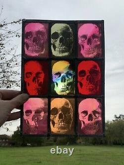 Stained Glass Panel Skulls