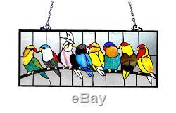 Stained Glass Panel Suncatchers Window Decoration Art Birds Nature Design