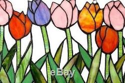 Stained Glass Panel for Window Tiffany Style Suncatchers Flowers Tulips Colorful