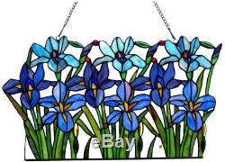 Stained Glass Panel for Window Tiffany Style Suncatchers Iris Flowers Victorian