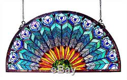 Stained Glass Peacock Design Tiffany Style Window Panel 35 Long x 18 Tall