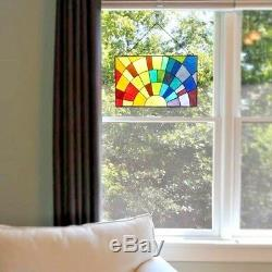 Stained Glass Rainbow Window Panels Handcrafted Tiffany Style 20 x 12 PAIR