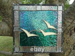 Stained Glass Seagull Suncatcher Sail Panel Window Tiffany Style 10x10