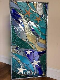 Stained Glass Starfish Transom Window Ocean Panel Nautical OOAK