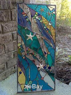 Stained Glass Starfish Transom Window Ocean Panel Nautical OOAK