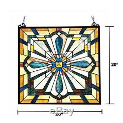 Stained Glass Tiffany Style Window Panel Arts & Crafts Mission Design 20 x 20