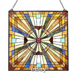 Stained Glass Tiffany Style Window Panel Mission 24 x 24 LAST ONE THIS PRICE
