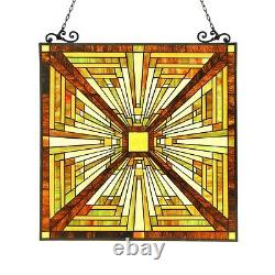 Stained Glass Tiffany Style Window Panel Mission Arts & Crafts 24.4 x 25.6