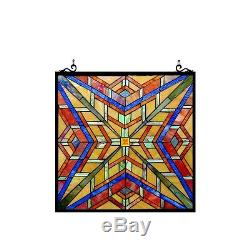 Stained Glass Tiffany Style Window Panel Mission Arts & Crafts Design 24 x 24