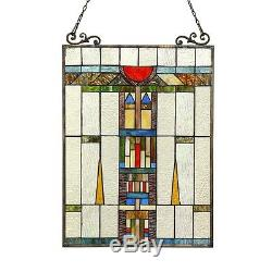 Stained Glass Tiffany Style Window Panel Mission Design LAST ONE THIS PRICE