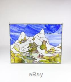 Stained Glass Tiffany Style Window Panel Snowy Mountains skiing Winter Landscape