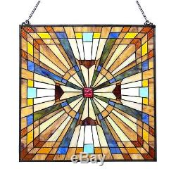 Stained Glass Tiffany Style Window Panel Victorian Mission Design 24 x 24