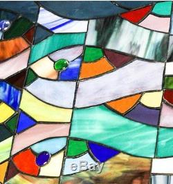 Stained Glass Tiffany Window Abstract Fish Panel Suncatcher RV Motor Home Camper