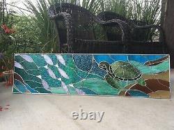 Stained Glass Transom Panel Window Suncatcher Sea Turtle Ocean Nautical