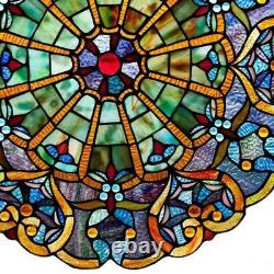 Stained Glass Victorian Window Panel 23 Round Tiffany Style ONE THIS PRICE