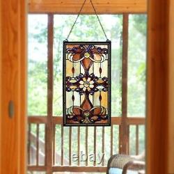 Stained Glass Vintage Victorian Design Tiffany Style Window Panel 15 W x 26 T