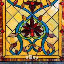 Stained Glass Vintage Victorian Design Tiffany Style Window Panel 18 W x 24 T