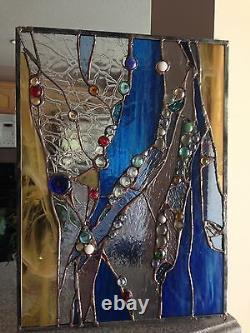 Stained Glass Window Abstract Suncatcher Panel OOAK
