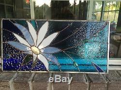 Stained Glass Window Daisy Flower Transom Suncatcher Summer Panel OOAK