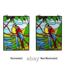Stained Glass Window Macaw Love Birds Tiffany Style Window Panel 18 W x 25 H