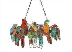 Stained Glass Window Panel 21.5 L x 13 H Birds On A Wire LAST ONE THIS PRICE
