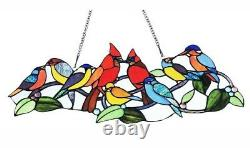 Stained Glass Window Panel 27 Long x 10 High Singing Birds Tiffany Style