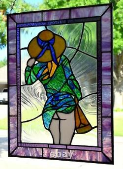 Stained Glass Window Panel A Windy Day 15 x 20