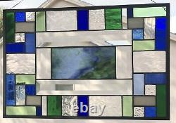 Stained Glass Window Panel, Art Glass Hanging Handmade Contemporary