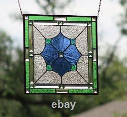 Stained Glass Window Panel Beveled- Hanging 17.5 X 17.5