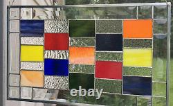 Stained Glass Window Panel, Bevels Hanging Handmade Contemporary