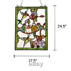 Stained Glass Window Panel Birds Hummingbirds Tiffany Style 18 x 25