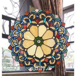 Stained Glass Window Panel Chloe Lighting CH1P180RV18-GPN 18 Diameter