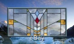 Stained Glass Window Panel Clear Mission Prairie Frank Lloyd Wright