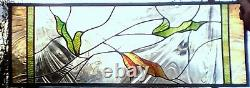 Stained Glass Window Panel Clear Transom sidelight leaf green rust gold brown