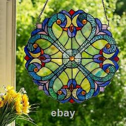 Stained Glass Window Panel Colorful HEARTS Hanging Sun Catcher Blue Light Decor