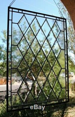 Stained Glass Window Panel Diamoond Beveled Leaded Ready To Ship