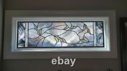 Stained Glass Window Panel Falling leaves clear blue