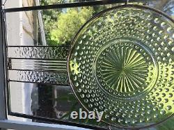 Stained Glass Window Panel Hobnail Plate Transom Handmade Contemporary