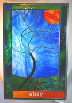 Stained Glass Window Panel Moonlit Tree Blue Green rust gold
