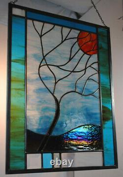 Stained Glass Window Panel Moonlit Tree turquoise