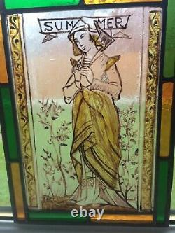 Stained Glass Window Panel New Original Leaded Light Hand Painted Fired Glass